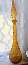 Vintage GLASS Mid Century yellow hobnail DECANTER Genie Bottle mcm modern retro