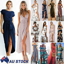 Women Boho Floral Maxi Long Dress Summer Evening Party Beach Slit Spilt Sundress