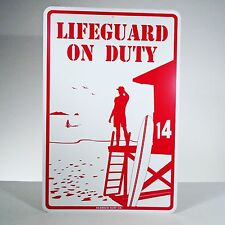 Lifeguard on Duty Metal Surf Sign Beach Pool Lake Safety Home Bar Decoration