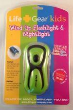 Life + Gear Kids Hand Crank LED Flashlight Nightlight Green Pink Black