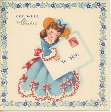VINTAGE OLD FASHIONED PRETTY GIRL HOLDING MAIL LETTER WITH STAMP CARD OLD PRINT