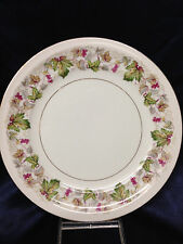 "MEITO CHINA CABERNET DINNER PLATE 10"" BERRIES & LEAVES ON VINE GOLD TRIM"