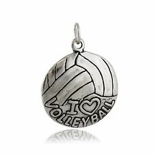 I Love Volleyball Charm - 925 Sterling Silver Round Ball Court Beach Sports NEW