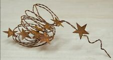 "70"" rustic wire garland with 9 1.25 Rusty Tin Stars Primitive home decor"