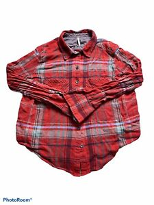 free people womens red plaid long sleeve button down shirt size s/p