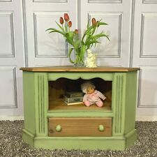 Solid Pine Corner TV Unit Painted Sage Green Farmhouse / Country Style