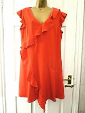 VERY Ladies Size 14 16 Red Casual Sleeveless V Neck Ruffle Frilly Shift Dress