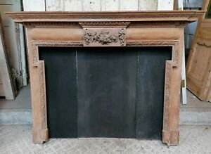 A VERY PRETTY ORIGINAL RECLAIMED HAND CARVED VICTORIAN PINE FIRE SURROUND FS0147