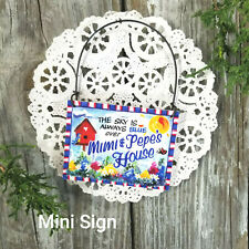 Mini Sign SKY BLUE Mimi & Pepe 's HOUSE Wood Ornament gift sign NEW Decowords