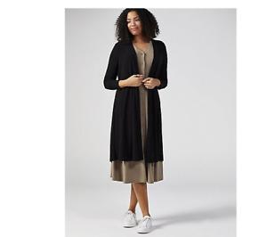 Nina Leonard Long Sleeve Back Button Cardigan Black Size XS BNWT