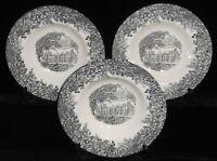 Set (3) Wedgwood Queen's Ware ROMANTIC ENGLAND PATTERN Rim Soup Bowls ENGLAND