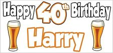 Lager  Pint 40th Birthday Banner x2 Party Decoration Son Mens Grandson ANY NAME