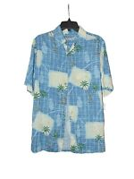 Batik Bay Short Sleeve Hawaiian Button Down Shirt Small Men Rayon Palm Trees