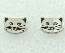 Kitty Cat Stainless Steel Earrings Silver Petite Post Lightweight