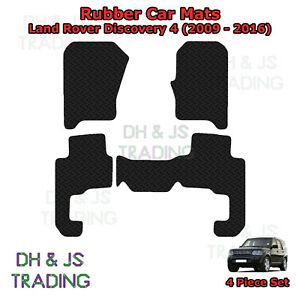 4pc Tailored Black Rubber Car Mat Set Fits Land Rover Discovery 4 (09-16)