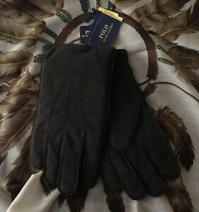 POLO Ralph Lauren Classic Brown Sheep Suede Thinsulate Lined Touch Gloves XL