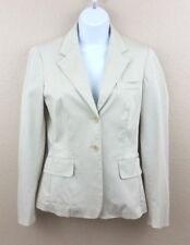 Max Mara Women's Beige Cotton Blend Two Button Blazer Jacket w/ Pockets - Size 8