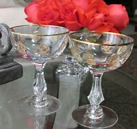 2 TIFFIN PALAIS VERSAILLES Champagne Glasses Stems GOLD ENCRUSTED~Wedding Toast!