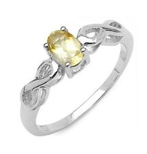 Genuine 0.45ct Oval Citrine Celtic Infinity Solid 925 Sterling Silver Ring US 6