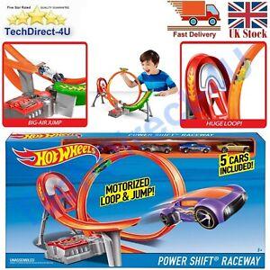 Huge New Hot Wheels Power Shift Raceway Motorised Loop & Jump + 5 Cars Included
