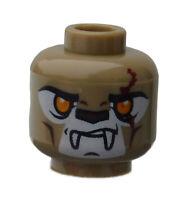 Lego Kopf zwei Gesichter dunkelbeige (dark tan) 3626cpb0882 Longtooth Chima Neu