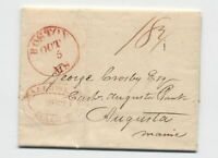 1826 Boston to Maine with Hallowell double oval handstamp stampless [45.171]