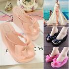 New Womens Platform Mid Heel Flip Flops Beach Sandals Bowknot Slippers Shoes 016