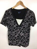 CECIL T-Shirt, schwarz weiß, Größe XL, 100% Baumwolle
