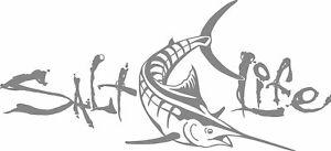 New SALT LIFE Marlin Fish Car Window Decal Beach Sticker fishing UV Vinyl silver
