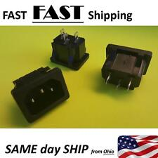 2x Black 3 Pins IEC320 C14 Inlet Power Plug Socket AC female