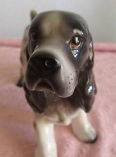 "Porcelain Springer Cocker Spaniel Dog ""Matte"" Figurine "" Enesco Label"" Rare!"