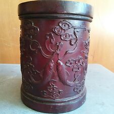 China Antique Red wood Brush Pots of Double happiness-two Unicorn and Craps