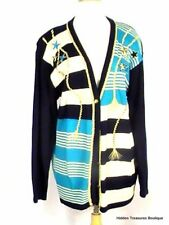 Koret Women's V-Neck Button Front Cardigan Sweater Striped Navy Teal Nautical Me