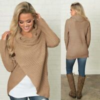 Casual Loose Solid Knitted Sweater Women's Tops Long Sleeve T-shirt Sweater