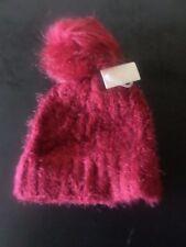 Fur Pom Pom Knit Hat - BURGUNDY - ONE SIZE