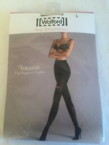 Wolford Velvet 66 leg support in Large in Admiral UK 16-18 perfect