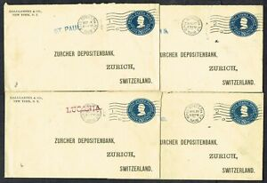 1908 Wall St NYC to Switzerland 5c Prepaid Covers via Steamer x 4 Different