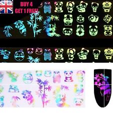 Holographic Nail Art Foil Panda Bamboo Leaves Palm Transfer Stickers >>5<<