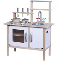 Kids Children Wooden Toy Kitchen Children Cooking Role Play Pretend Set