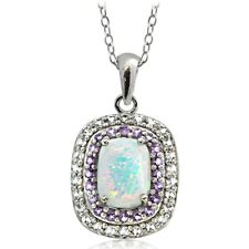 925 Silver Lab Created Opal with Amethyst & White Topaz Oval Necklace