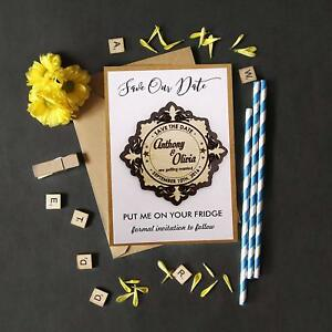 Rustic Wedding Save the Date Wooden Magnet 25 Custom Engraved Wooden Magnet-MG13