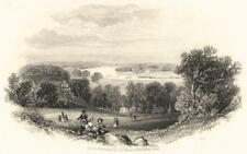 LONDON: The Thames from Richmond Hill; antique print c1855