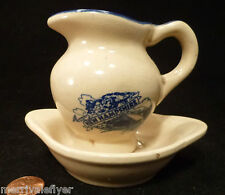 Antique Miniature NEW HAMPSHIRE Pitcher Wash BASIN Flow Blue OLD MAN OF MOUNTAIN