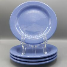4 Hartstone Pottery Lusterware Salad Plates Perwinkle Blue Shiny Dessert Set