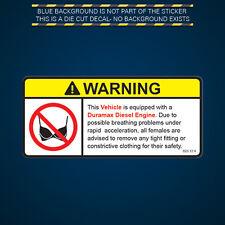 Vehicle Duramax Diesel Engine Warning No Bra Self Adhesive Sticker Decal