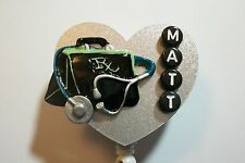 PERSONALIZED DOCTOR BAG STETHOSCOPE RN NURSE MEDICAL PHYSICIAN ID BADGE HOLDER