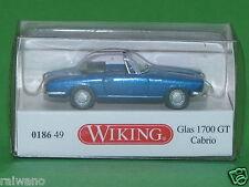 1:87 Wiking 018649 Glas 1700 GT Cabrio blau metallic Blitzversand per DHL-Paket