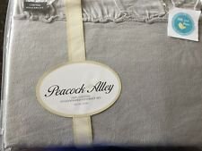 3 pc Peacock Alley QUEEN Penelope Coverlet & 2 shams in Fog- Gray New Ruffled