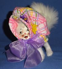 """Annalee Spring Bonnet Kitty-4"""" White happy face-fluffy tail bendable;NWOT-2016"""
