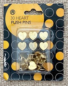 Heart Push Drawing Pins, Gold Heart Pushpins, Heart Thumb Tacks, 30 Piece Set